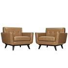 Modway Engage Armchair Leather Set of 2 in Tan MY-EEI-1665-TAN-SET