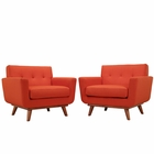 Modway Engage Armchair Upholstered Fabric Set of 2 in Atomic Red MY-EEI-1284-ATO