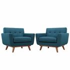 Modway Engage Armchair Upholstered Fabric Set of 2 in Azure MY-EEI-1284-AZU