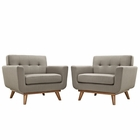 Modway Engage Armchair Upholstered Fabric Set of 2 in Granite MY-EEI-1284-GRA