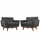 Modway Engage Armchair Upholstered Fabric Set of 2 in Gray MY-EEI-1284-DOR