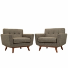 Modway Engage Armchair Upholstered Fabric Set of 2 in Oatmeal MY-EEI-1284-OAT