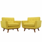 Modway Engage Armchair Upholstered Fabric Set of 2 in Sunny MY-EEI-1284-SUN