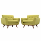 Modway Engage Armchair Upholstered Fabric Set of 2 in Wheatgrass MY-EEI-1284-WHE