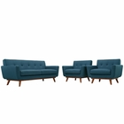 Modway Engage Armchairs and Loveseat Upholstered Fabric Set of 3 in Azure MY-EEI-1347-AZU