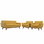 Modway Engage Armchairs and Loveseat Upholstered Fabric Set of 3 in Citrus MY-EEI-1347-CIT