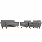 Modway Engage Armchairs and Loveseat Upholstered Fabric Set of 3 in Expectation Gray MY-EEI-1347-GRY
