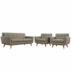 Modway Engage Armchairs and Loveseat Upholstered Fabric Set of 3 in Granite MY-EEI-1347-GRA
