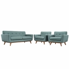 Modway Engage Armchairs and Loveseat Upholstered Fabric Set of 3 in Laguna MY-EEI-1347-LAG