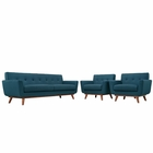 Modway Engage Armchairs and Sofa Upholstered Fabric Set of 3 in Azure MY-EEI-1345-AZU