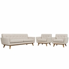 Modway Engage Armchairs and Sofa Upholstered Fabric Set of 3 in Beige MY-EEI-1345-BEI