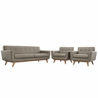 Modway Engage Armchairs and Sofa Upholstered Fabric Set of 3 in Granite MY-EEI-1345-GRA