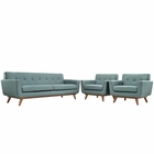 Modway Engage Armchairs and Sofa Upholstered Fabric Set of 3 in Laguna MY-EEI-1345-LAG