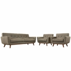 Modway Engage Armchairs and Sofa Upholstered Fabric Set of 3 in Oatmeal MY-EEI-1345-OAT
