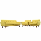 Modway Engage Armchairs and Sofa Upholstered Fabric Set of 3 in Sunny MY-EEI-1345-SUN