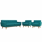 Modway Engage Armchairs and Sofa Upholstered Fabric Set of 3 in Teal MY-EEI-1345-TEA