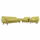 Modway Engage Armchairs and Sofa Upholstered Fabric Set of 3 in Wheatgrass MY-EEI-1345-WHE