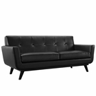 Modway Engage Bonded Leather Loveseat in Black MY-EEI-1337-BLK