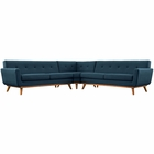 Modway Engage L-Shaped Upholstered Fabric Sectional Sofa in Azure MY-EEI-2108-AZU-SET