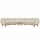 Modway Engage L-Shaped Upholstered Fabric Sectional Sofa in Beige MY-EEI-2108-BEI-SET