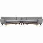 Modway Engage L-Shaped Upholstered Fabric Sectional Sofa in Expectation Gray MY-EEI-2108-GRY-SET