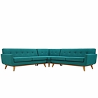 Modway Engage L-Shaped Upholstered Fabric Sectional Sofa in Teal MY-EEI-2108-TEA-SET