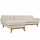 Modway Engage Left-Facing Upholstered Fabric Sectional Sofa in Beige MY-EEI-2068-BEI-SET