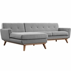 Modway Engage Left-Facing Upholstered Fabric Sectional Sofa in Expectation Gray MY-EEI-2068-GRY-SET
