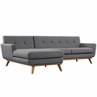 Modway Engage Left-Facing Upholstered Fabric Sectional Sofa in Gray MY-EEI-2068-DOR-SET