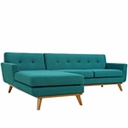 Modway Engage Left-Facing Upholstered Fabric Sectional Sofa in Teal MY-EEI-2068-TEA-SET
