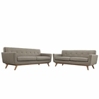 Modway Engage Loveseat and Sofa Upholstered Fabric Set of 2 in Granite MY-EEI-1348-GRA