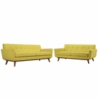 Modway Engage Loveseat and Sofa Upholstered Fabric Set of 2 in Sunny MY-EEI-1348-SUN