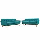 Modway Engage Loveseat and Sofa Upholstered Fabric Set of 2 in Teal MY-EEI-1348-TEA