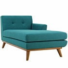 Modway Engage Right-Facing Upholstered Fabric Chaise in Teal MY-EEI-1794-TEA