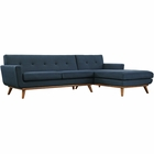 Modway Engage Right-Facing Upholstered Fabric Sectional Sofa in Azure MY-EEI-2119-AZU-SET