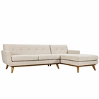Modway Engage Right-Facing Upholstered Fabric Sectional Sofa in Beige MY-EEI-2119-BEI-SET