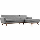 Modway Engage Right-Facing Upholstered Fabric Sectional Sofa in Expectation Gray MY-EEI-2119-GRY-SET