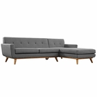 Modway Engage Right-Facing Upholstered Fabric Sectional Sofa in Gray MY-EEI-2119-DOR-SET
