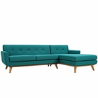 Modway Engage Right-Facing Upholstered Fabric Sectional Sofa in Teal MY-EEI-2119-TEA-SET