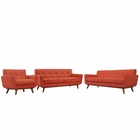 Modway Engage Sofa Loveseat and Armchair Upholstered Fabric Set of 3 in Atomic Red MY-EEI-1349-ATO