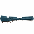 Modway Engage Sofa Loveseat and Armchair Upholstered Fabric Set of 3 in Azure MY-EEI-1349-AZU