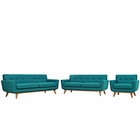 Modway Engage Sofa Loveseat and Armchair Upholstered Fabric Set of 3 in Teal MY-EEI-1349-TEA