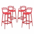 Modway Entangled Bar Stools Set of 4 in Red MY-EEI-2402-RED-SET