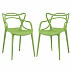 Modway Entangled Dining Chairs Set of 2 in Green MY-EEI-2347-GRN-SET