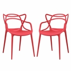 Modway Entangled Dining Chairs Set of 2 in Red MY-EEI-2347-RED-SET
