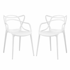 Modway Entangled Dining Chairs Set of 2 in White MY-EEI-2347-WHI-SET