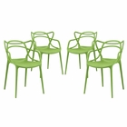 Modway Entangled Dining Chairs Set of 4 in Green MY-EEI-2348-GRN-SET