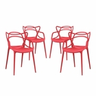 Modway Entangled Dining Chairs Set of 4 in Red MY-EEI-2348-RED-SET