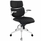 Modway Escape Mid Back Faux Leather Office Chair in Black MY-EEI-1028-BLK