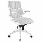 Modway Escape Mid Back Faux Leather Office Chair in White MY-EEI-1028-WHI